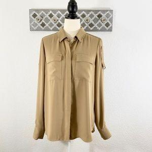 WHBM Button Down Shirt Tan Long Sleeve Blouse, 8